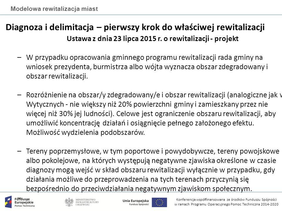 Konferencja współfinansowana ze środków Funduszu Spójności w ramach Programu Operacyjnego Pomoc Techniczna 2014-2020 Modelowa rewitalizacja miast URZĄD PRACY MIEJSKI OŚRODEK POMOCY RODZINIE POLICJASTAROSTWO POWIATOWE URZĄD MIASTA DELIMITACJA OBSZARÓW KRYZYSOWYCH Bazy danych źródłowych MIEJSKI KONSERWATOR