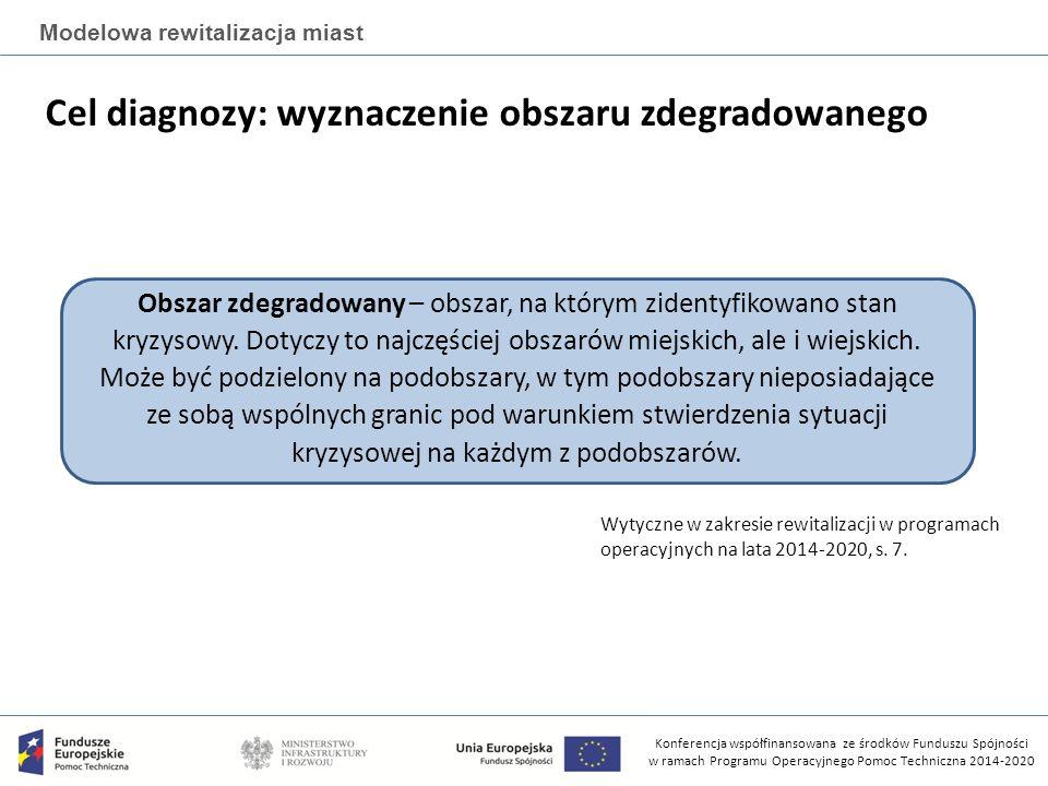 Konferencja współfinansowana ze środków Funduszu Spójności w ramach Programu Operacyjnego Pomoc Techniczna 2014-2020 Modelowa rewitalizacja miast Cel diagnozy: wyznaczenie obszaru zdegradowanego Obszar zdegradowany – obszar, na którym zidentyfikowano stan kryzysowy.