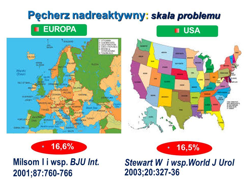 Pęcherz nadreaktywny: skala problemu EUROPA USA Milsom I i wsp. BJU Int. 2001;87:760-766 Stewart W i wsp.World J Urol 2003;20:327-36 16,6% 16,5%