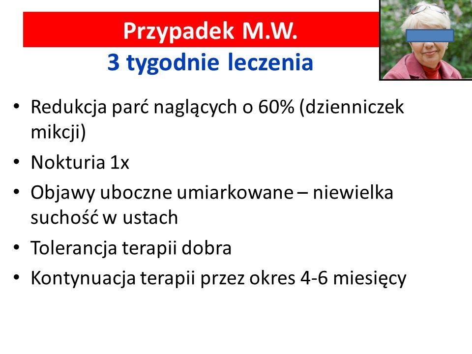 Przypadek M.W. 3 tygodnie leczenia Redukcja parć naglących o 60% (dzienniczek mikcji) Nokturia 1x Objawy uboczne umiarkowane – niewielka suchość w ust