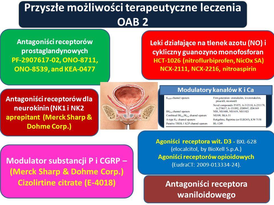 Przyszłe możliwości terapeutyczne leczenia OAB 2 Antagoniści receptorów prostaglandynowych PF-2907617-02, ONO-8711, ONO-8539, and KEA-0477 Leki działa
