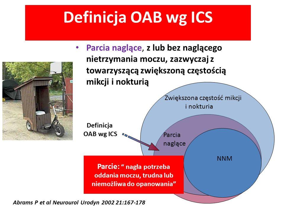 Definicja OAB wg ICS Parcia naglące, z lub bez naglącego nietrzymania moczu, zazwyczaj z towarzyszącą zwiększoną częstością mikcji i nokturią Abrams P