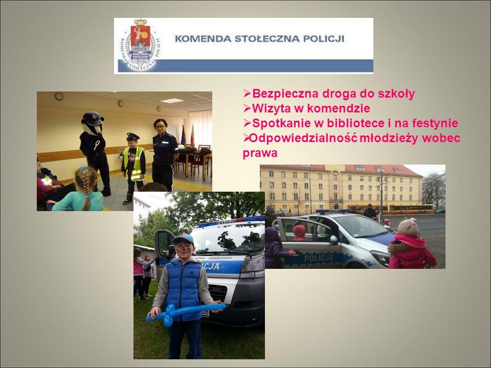  Bezpieczna droga do szkoły  Wizyta w komendzie  Spotkanie w bibliotece i na festynie  Odpowiedzialność młodzieży wobec prawa