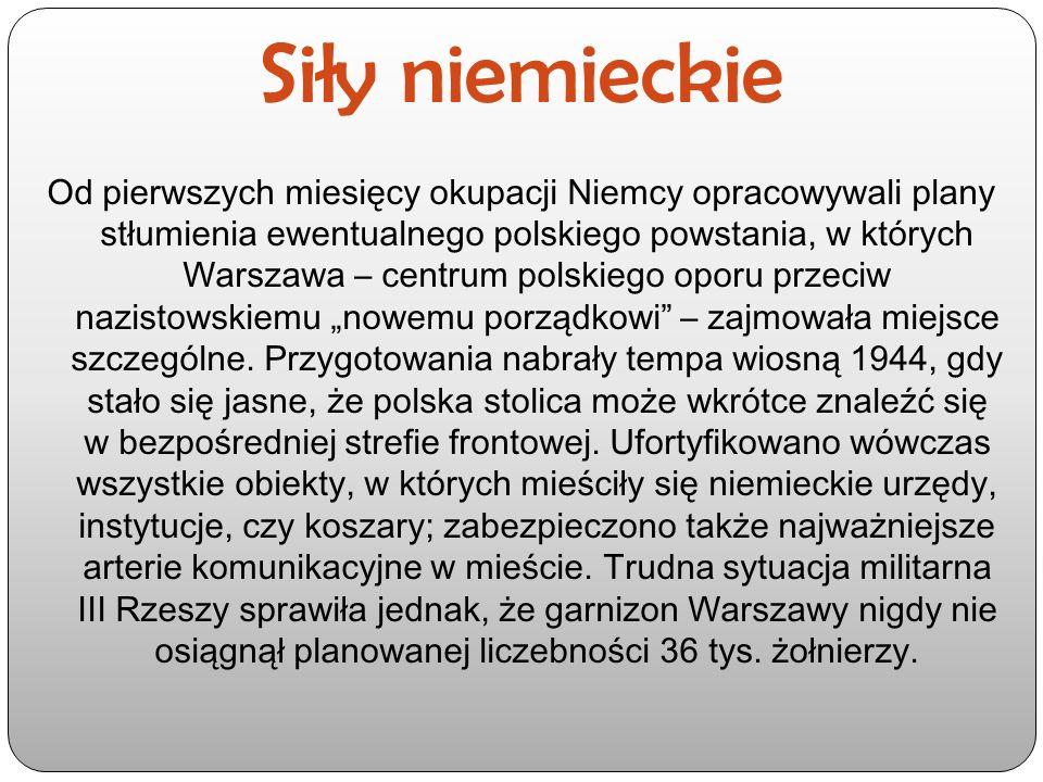 Siły niemieckie Od pierwszych miesięcy okupacji Niemcy opracowywali plany stłumienia ewentualnego polskiego powstania, w których Warszawa – centrum po