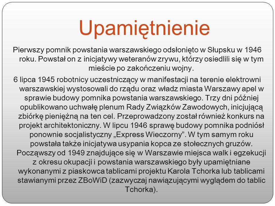 Upamiętnienie Pierwszy pomnik powstania warszawskiego odsłonięto w Słupsku w 1946 roku. Powstał on z inicjatywy weteranów zrywu, którzy osiedlili się