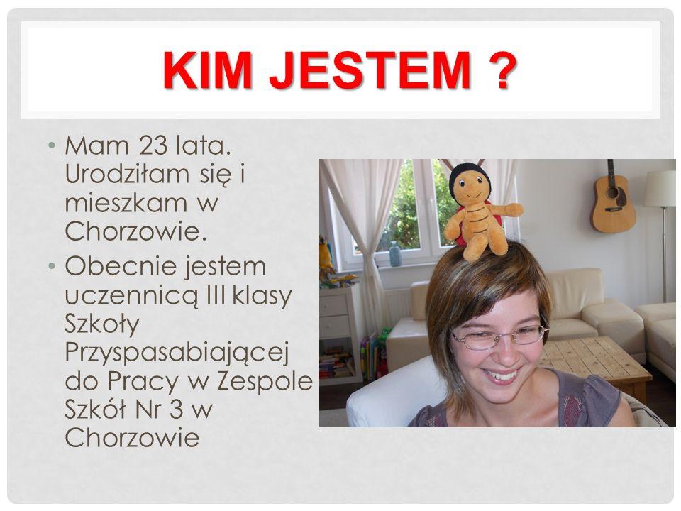 KIM JESTEM . Mam 23 lata. Urodziłam się i mieszkam w Chorzowie.