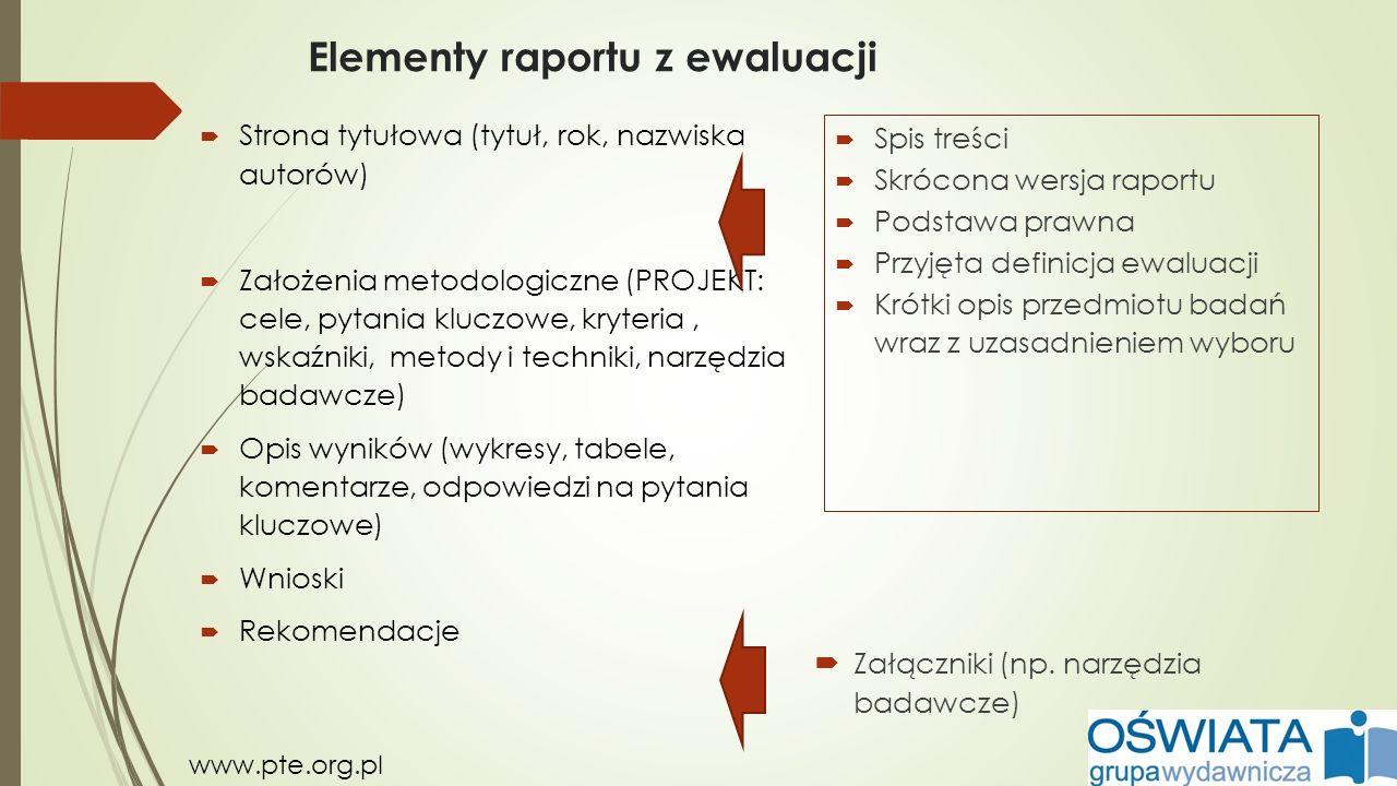 Elementy raportu z ewaluacji  Strona tytułowa (tytuł, rok, nazwiska autorów)  Założenia metodologiczne (PROJEKT: cele, pytania kluczowe, kryteria, w