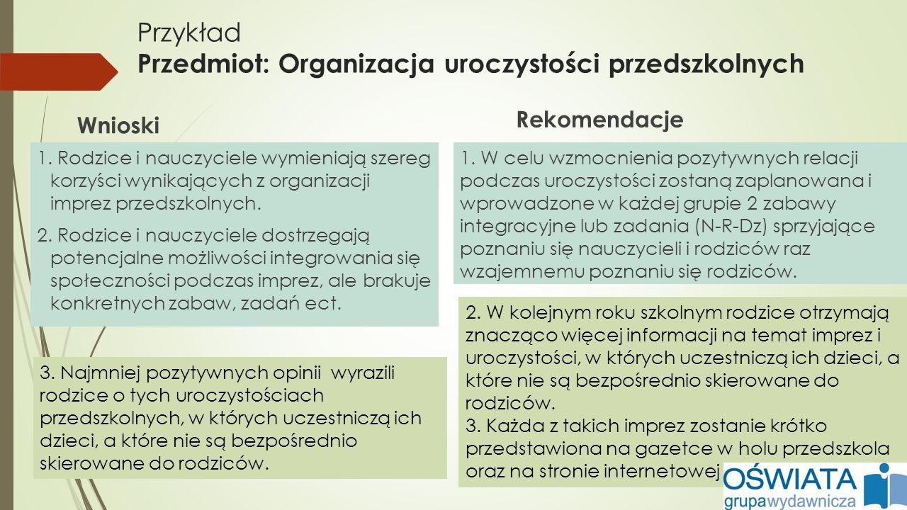 Przykład Przedmiot: Organizacja uroczystości przedszkolnych Wnioski 1. Rodzice i nauczyciele wymieniają szereg korzyści wynikających z organizacji imp