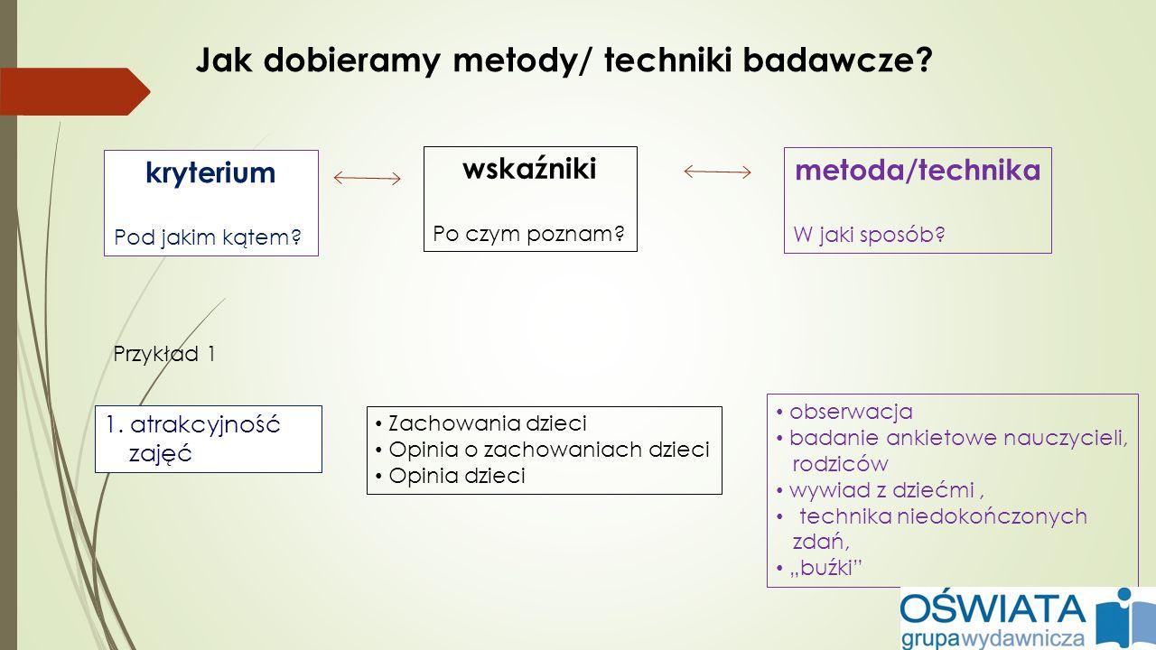 Jak dobieramy metody/ techniki badawcze? kryterium Pod jakim kątem? wskaźniki Po czym poznam? 1. atrakcyjność zajęć metoda/technika W jaki sposób? Zac