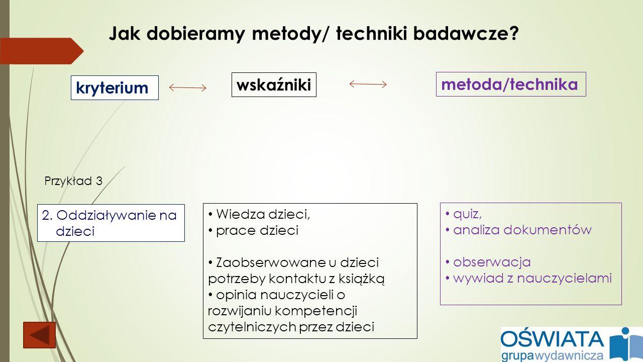 Jak dobieramy metody/ techniki badawcze? kryterium wskaźniki metoda/technika 2. Oddziaływanie na dzieci Wiedza dzieci, prace dzieci Zaobserwowane u dz