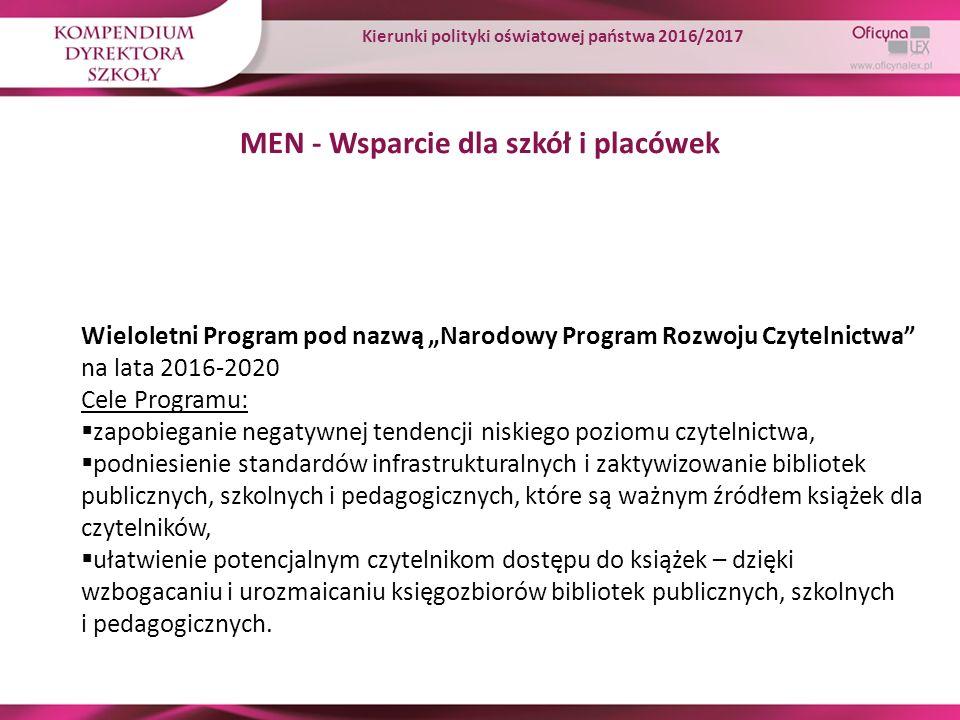 """MEN - Wsparcie dla szkół i placówek Wieloletni Program pod nazwą """"Narodowy Program Rozwoju Czytelnictwa"""" na lata 2016-2020 Cele Programu:  zapobiegan"""