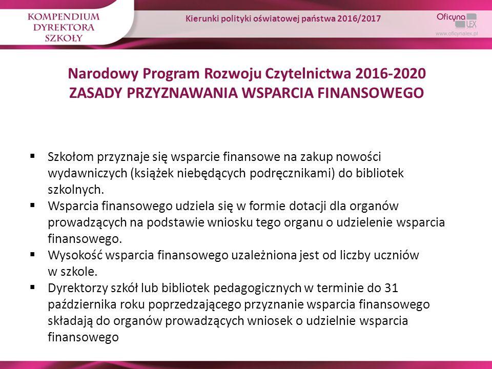 Narodowy Program Rozwoju Czytelnictwa 2016-2020 ZASADY PRZYZNAWANIA WSPARCIA FINANSOWEGO  Szkołom przyznaje się wsparcie finansowe na zakup nowości w