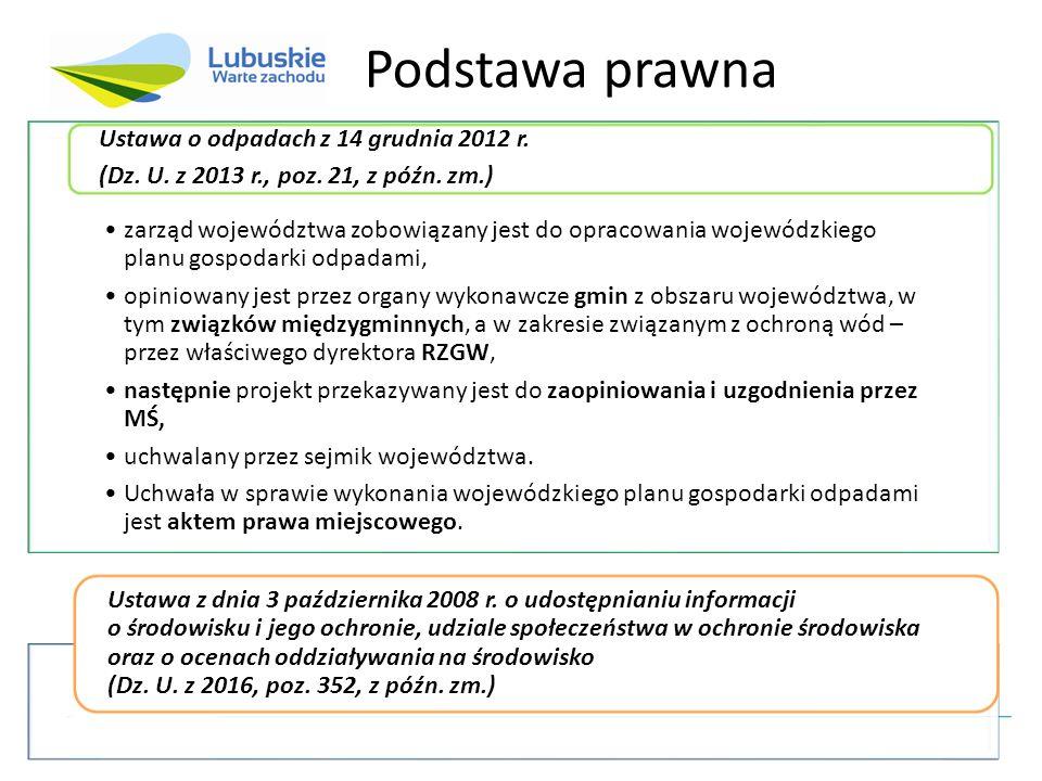 zarząd województwa zobowiązany jest do opracowania wojewódzkiego planu gospodarki odpadami, opiniowany jest przez organy wykonawcze gmin z obszaru województwa, w tym związków międzygminnych, a w zakresie związanym z ochroną wód – przez właściwego dyrektora RZGW, następnie projekt przekazywany jest do zaopiniowania i uzgodnienia przez MŚ, uchwalany przez sejmik województwa.