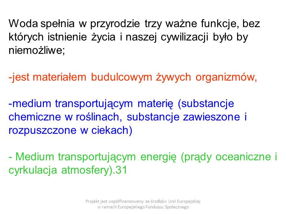 Projekt jest współfinansowany ze środków Unii Europejskiej w ramach Europejskiego Funduszu Społecznego Woda spełnia w przyrodzie trzy ważne funkcje, bez których istnienie życia i naszej cywilizacji było by niemożliwe; -jest materiałem budulcowym żywych organizmów, -medium transportującym materię (substancje chemiczne w roślinach, substancje zawieszone i rozpuszczone w ciekach) - Medium transportującym energię (prądy oceaniczne i cyrkulacja atmosfery).31
