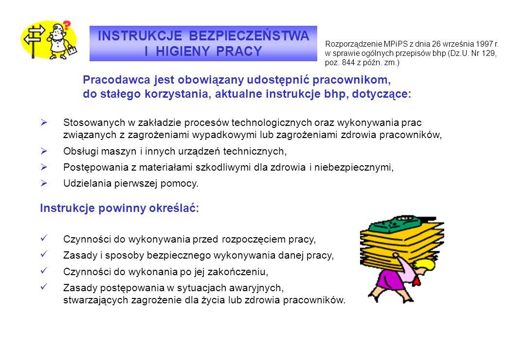 INSTRUKCJE BEZPIECZEŃSTWA I HIGIENY PRACY Rozporządzenie MPiPS z dnia 26 września 1997 r. w sprawie ogólnych przepisów bhp (Dz.U. Nr 129, poz. 844 z p