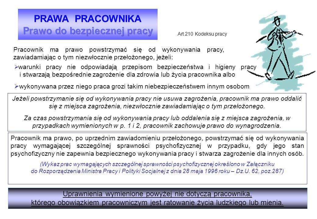 Pracownik ma prawo powstrzymać się od wykonywania pracy, zawiadamiając o tym niezwłocznie przełożonego, jeżeli: Art.210 Kodeksu pracy  warunki pracy