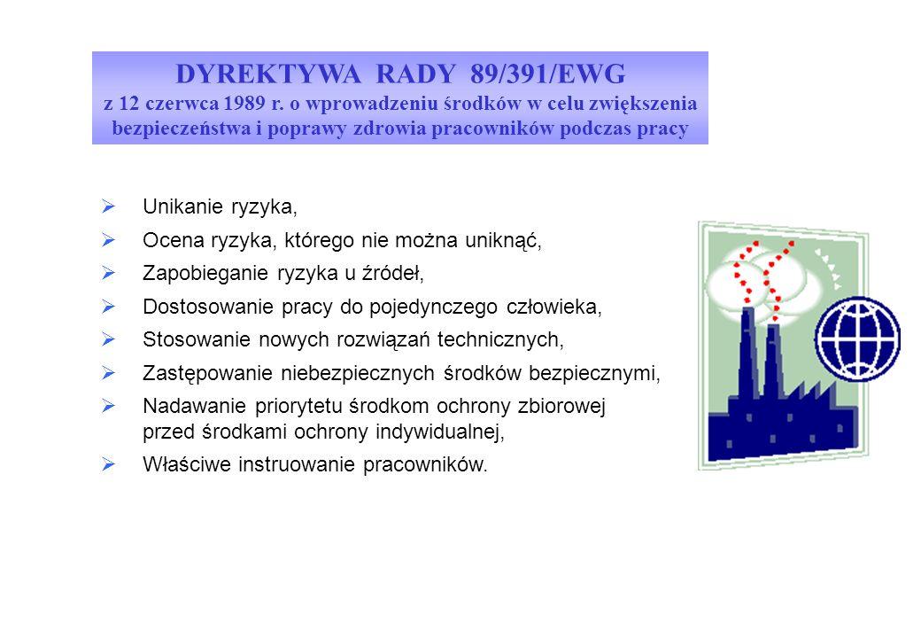 DYREKTYWA RADY 89/391/EWG z 12 czerwca 1989 r. o wprowadzeniu środków w celu zwiększenia bezpieczeństwa i poprawy zdrowia pracowników podczas pracy 