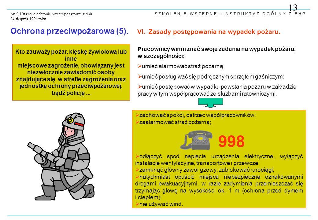 S Z K O L E N I E W S T Ę P N E – I N S T R U K T A Ż O G Ó L N Y Z B H P Art.9 Ustawy o ochronie przeciwpożarowej z dnia 24 sierpnia 1991 roku Kto zauważy pożar, klęskę żywiołową lub inne miejscowe zagrożenie, obowiązany jest niezwłocznie zawiadomić osoby znajdujące się w strefie zagrożenia oraz jednostkę ochrony przeciwpożarowej, bądź policję...
