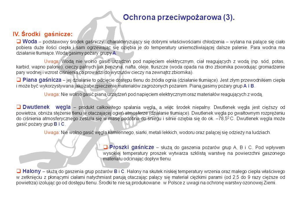 Ochrona przeciwpożarowa (3). IV.
