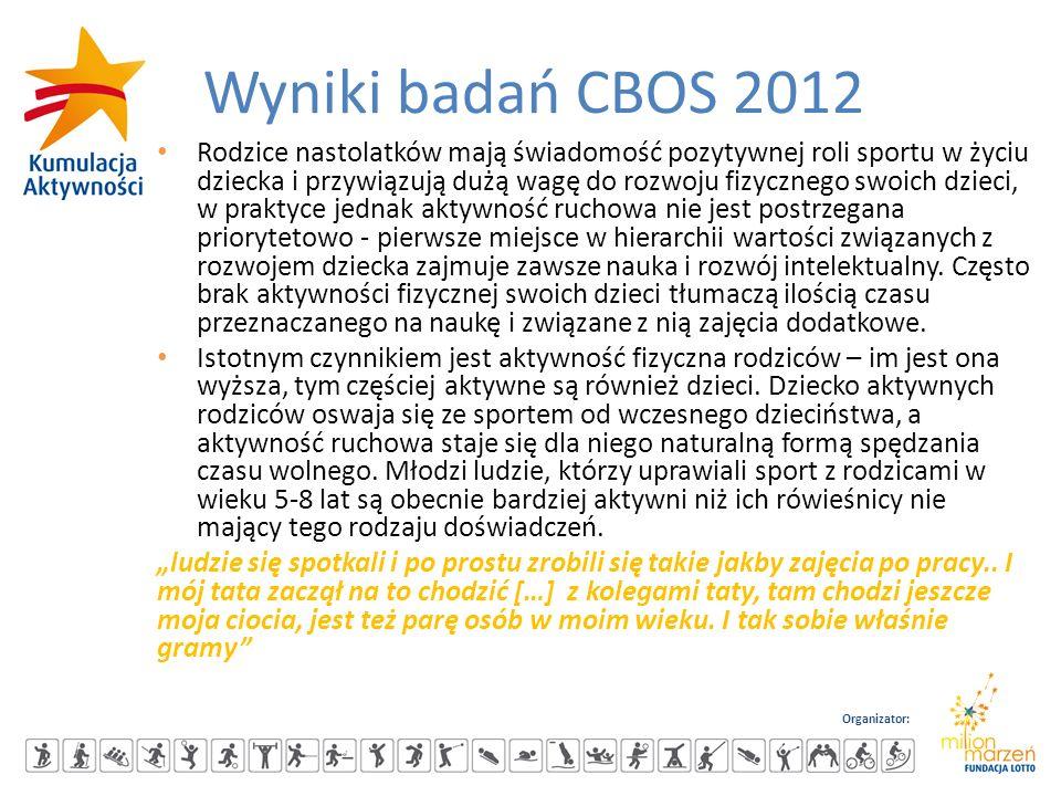 Organizator: Wyniki badań CBOS 2012 Rodzice nastolatków mają świadomość pozytywnej roli sportu w życiu dziecka i przywiązują dużą wagę do rozwoju fizy