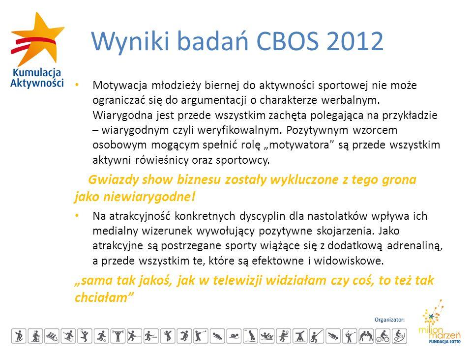 Organizator: Wyniki badań CBOS 2012 Motywacja młodzieży biernej do aktywności sportowej nie może ograniczać się do argumentacji o charakterze werbalny