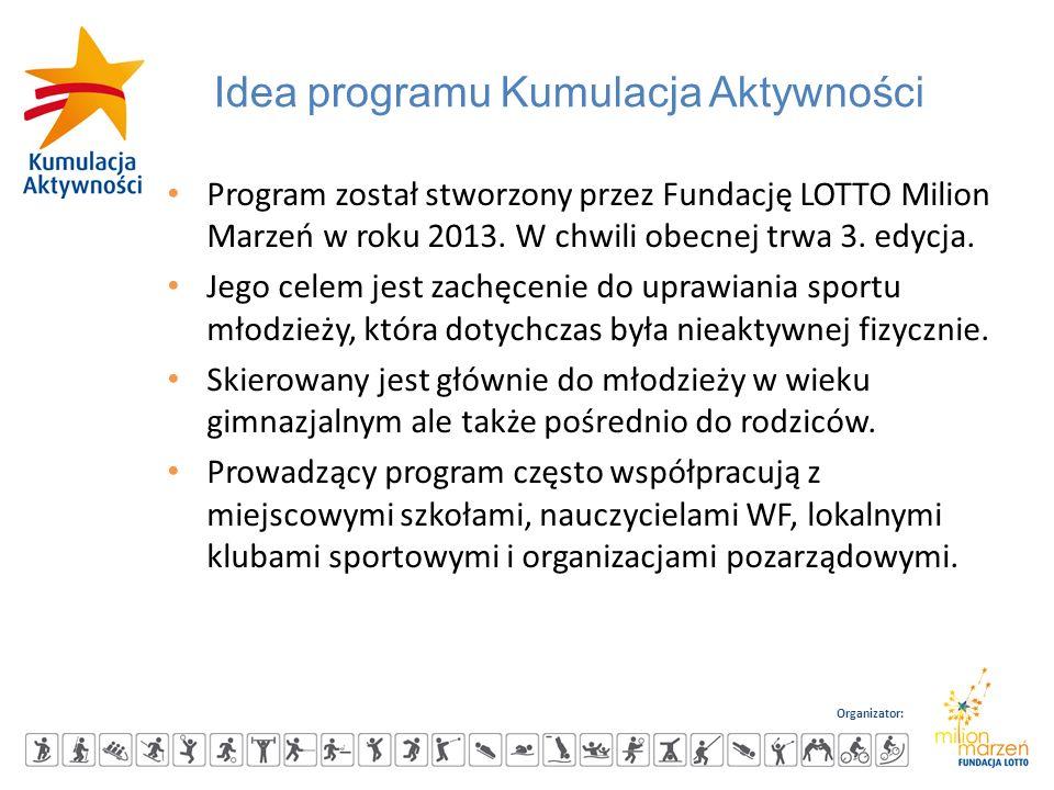 Organizator: Idea programu Kumulacja Aktywności Program został stworzony przez Fundację LOTTO Milion Marzeń w roku 2013. W chwili obecnej trwa 3. edyc