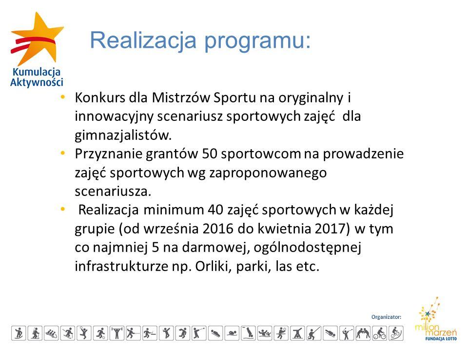 Organizator: Realizacja programu: Konkurs dla Mistrzów Sportu na oryginalny i innowacyjny scenariusz sportowych zajęć dla gimnazjalistów. Przyznanie g