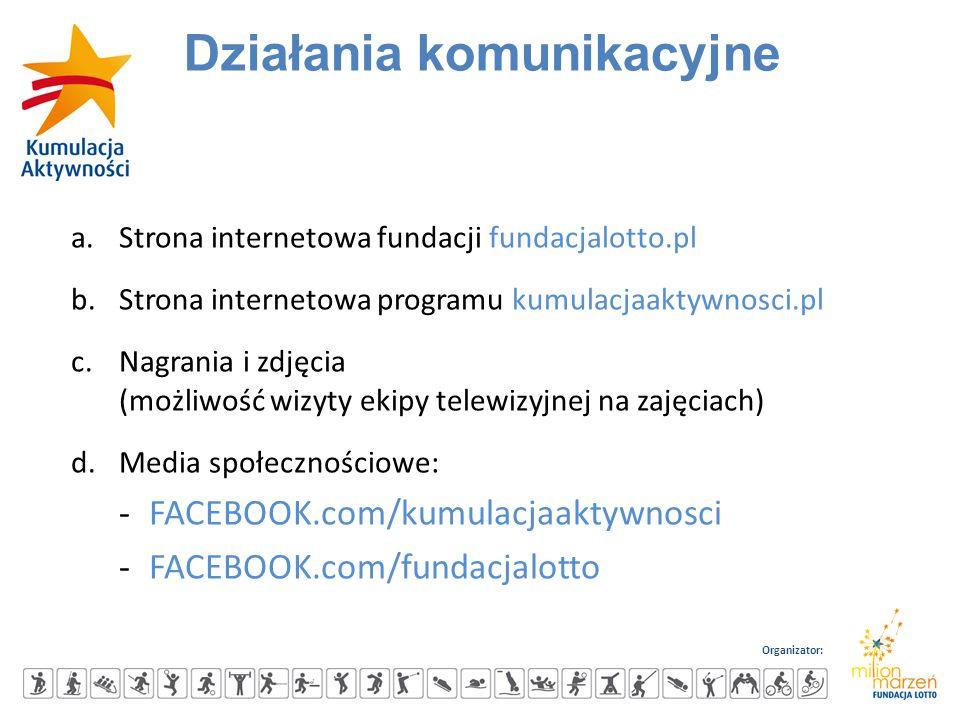 Organizator: a.Strona internetowa fundacji fundacjalotto.pl b.Strona internetowa programu kumulacjaaktywnosci.pl c.Nagrania i zdjęcia (możliwość wizyt