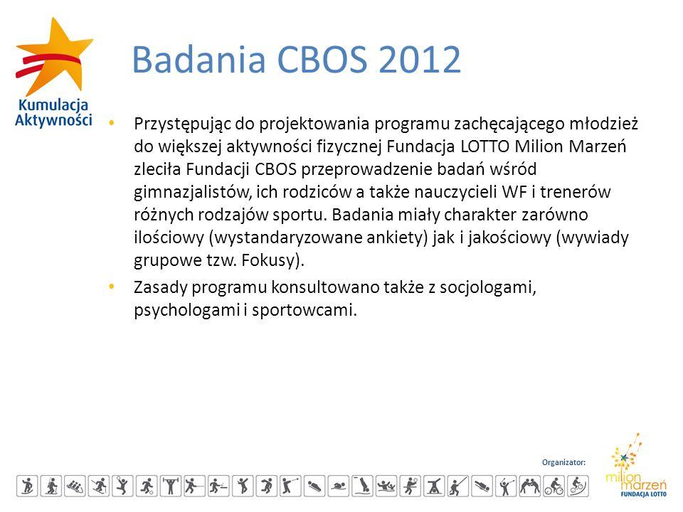 Organizator: Badania CBOS 2012 Przystępując do projektowania programu zachęcającego młodzież do większej aktywności fizycznej Fundacja LOTTO Milion Ma