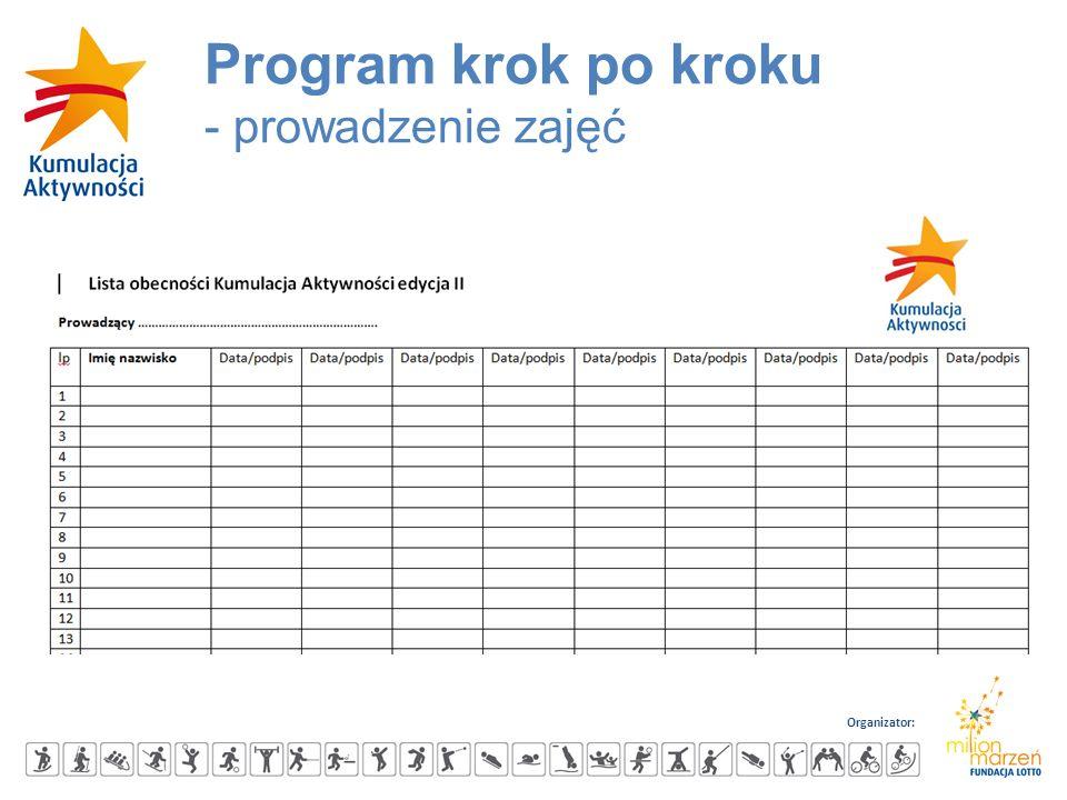 Organizator: Program krok po kroku - prowadzenie zajęć