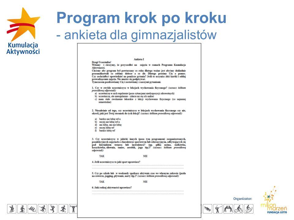 Organizator: Program krok po kroku - ankieta dla gimnazjalistów