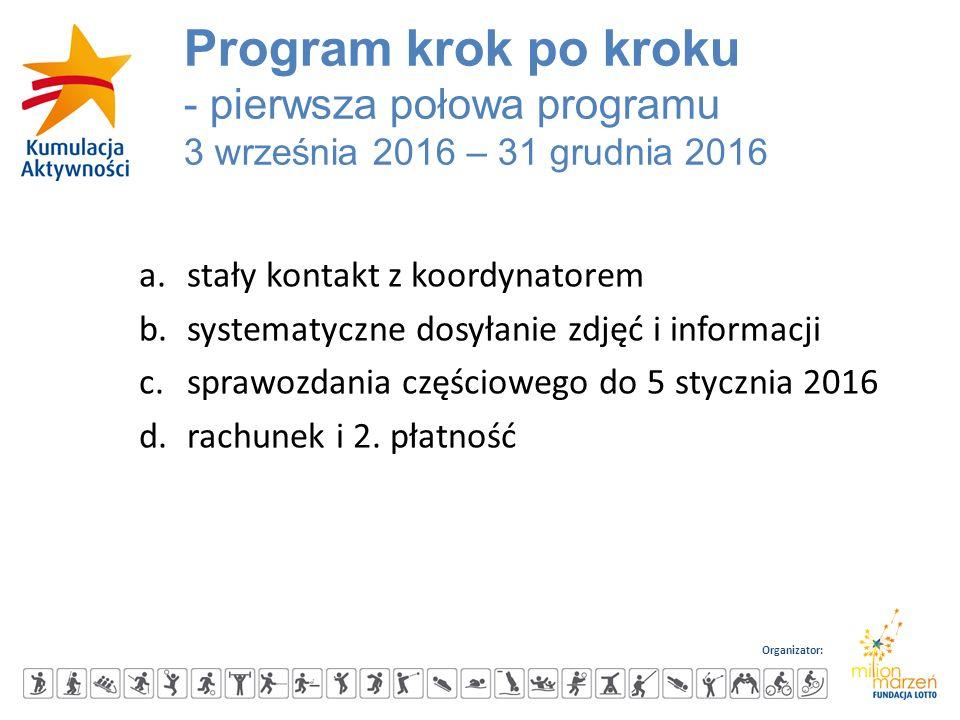Organizator: a.stały kontakt z koordynatorem b.systematyczne dosyłanie zdjęć i informacji c.sprawozdania częściowego do 5 stycznia 2016 d.rachunek i 2