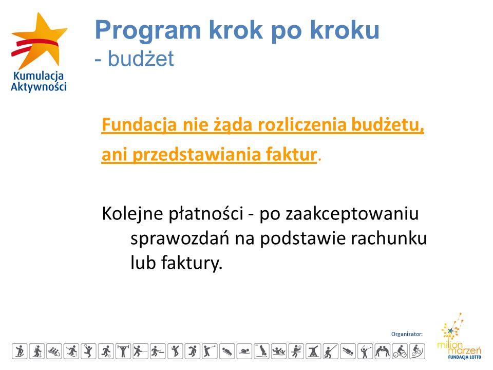 Organizator: Fundacja nie żąda rozliczenia budżetu, ani przedstawiania faktur. Kolejne płatności - po zaakceptowaniu sprawozdań na podstawie rachunku