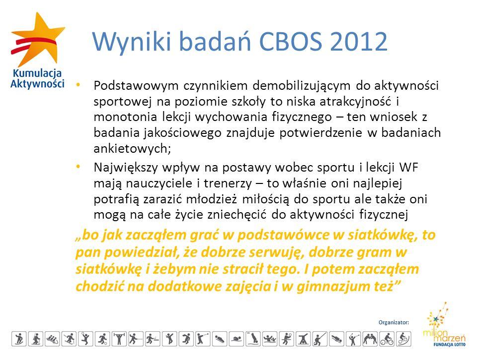 Organizator: Wyniki badań CBOS 2012 Podstawowym czynnikiem demobilizującym do aktywności sportowej na poziomie szkoły to niska atrakcyjność i monotoni