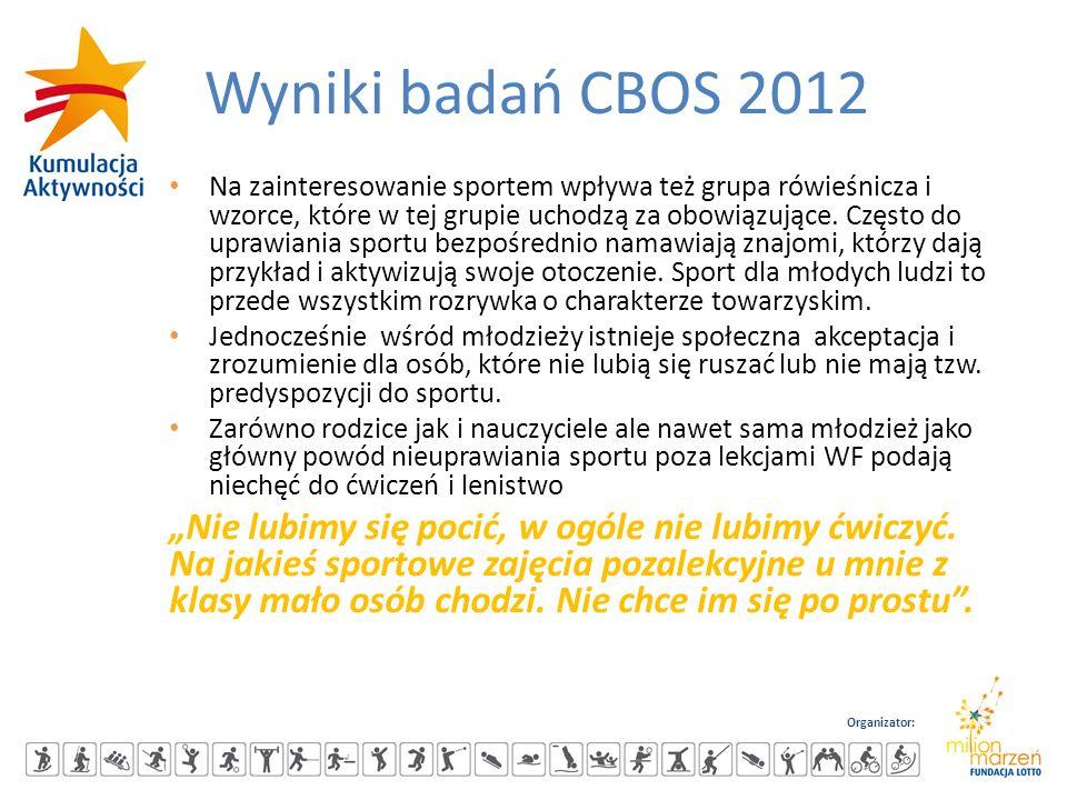 Organizator: Wyniki badań CBOS 2012 Na zainteresowanie sportem wpływa też grupa rówieśnicza i wzorce, które w tej grupie uchodzą za obowiązujące. Częs