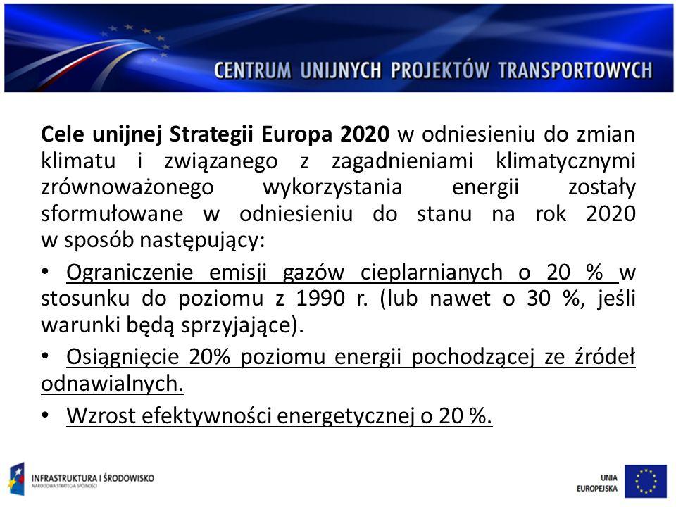 Cele unijnej Strategii Europa 2020 w odniesieniu do zmian klimatu i związanego z zagadnieniami klimatycznymi zrównoważonego wykorzystania energii zostały sformułowane w odniesieniu do stanu na rok 2020 w sposób następujący: Ograniczenie emisji gazów cieplarnianych o 20 % w stosunku do poziomu z 1990 r.