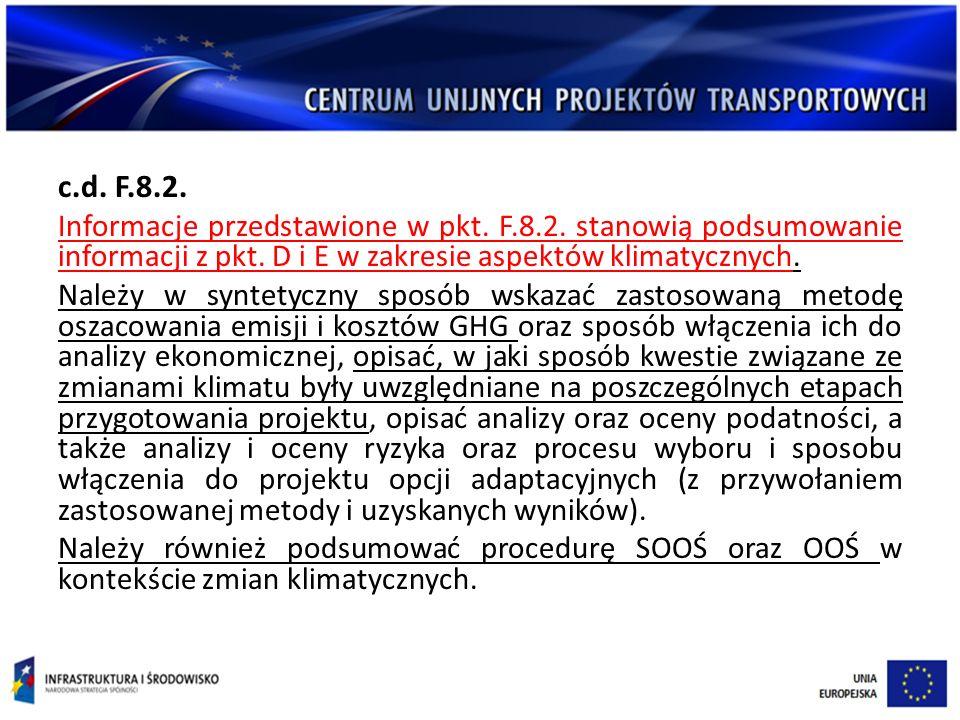c.d.F.8.2. Informacje przedstawione w pkt. F.8.2.