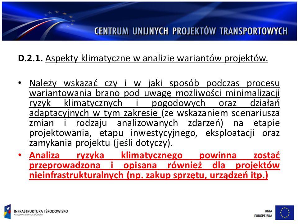 D.2.1.Aspekty klimatyczne w analizie wariantów projektów.