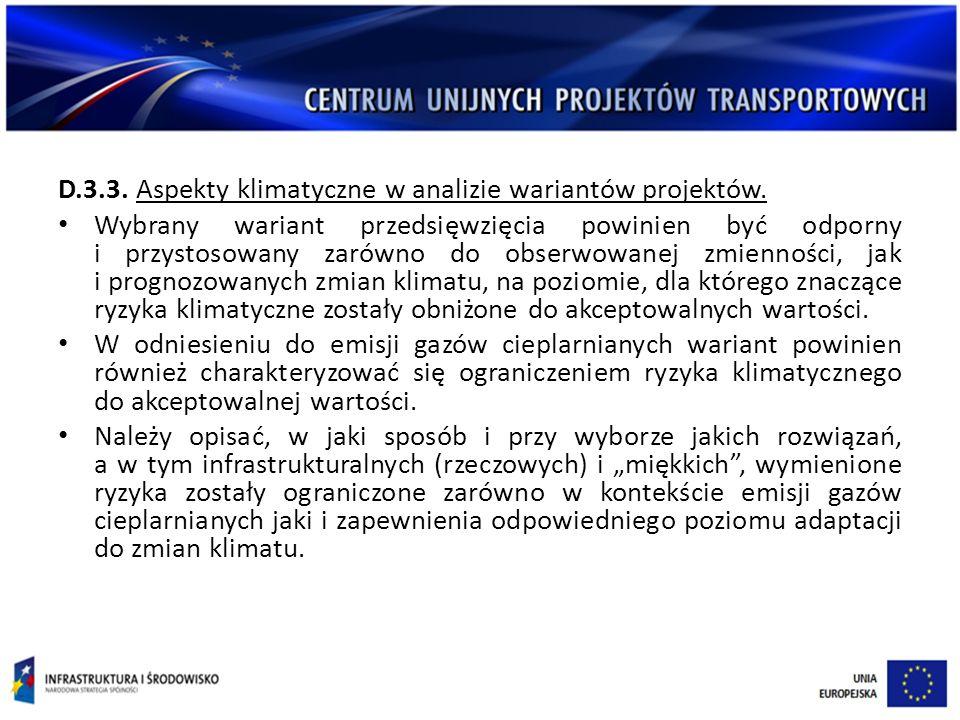 D.3.3.Aspekty klimatyczne w analizie wariantów projektów.