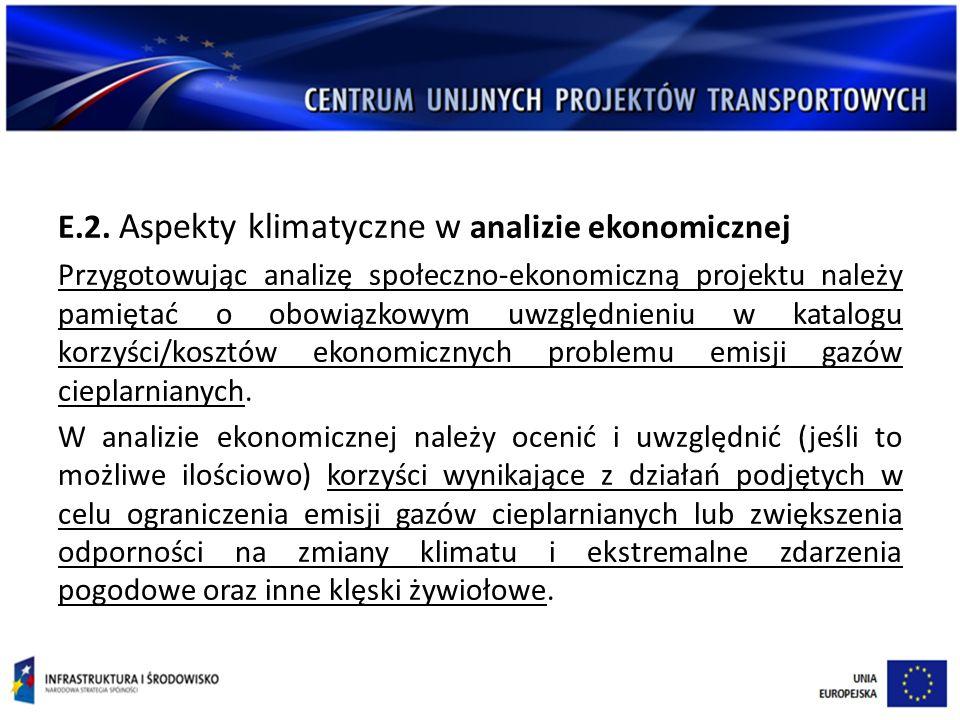 E.2. Aspekty klimatyczne w analizie ekonomicznej Przygotowując analizę społeczno-ekonomiczną projektu należy pamiętać o obowiązkowym uwzględnieniu w k