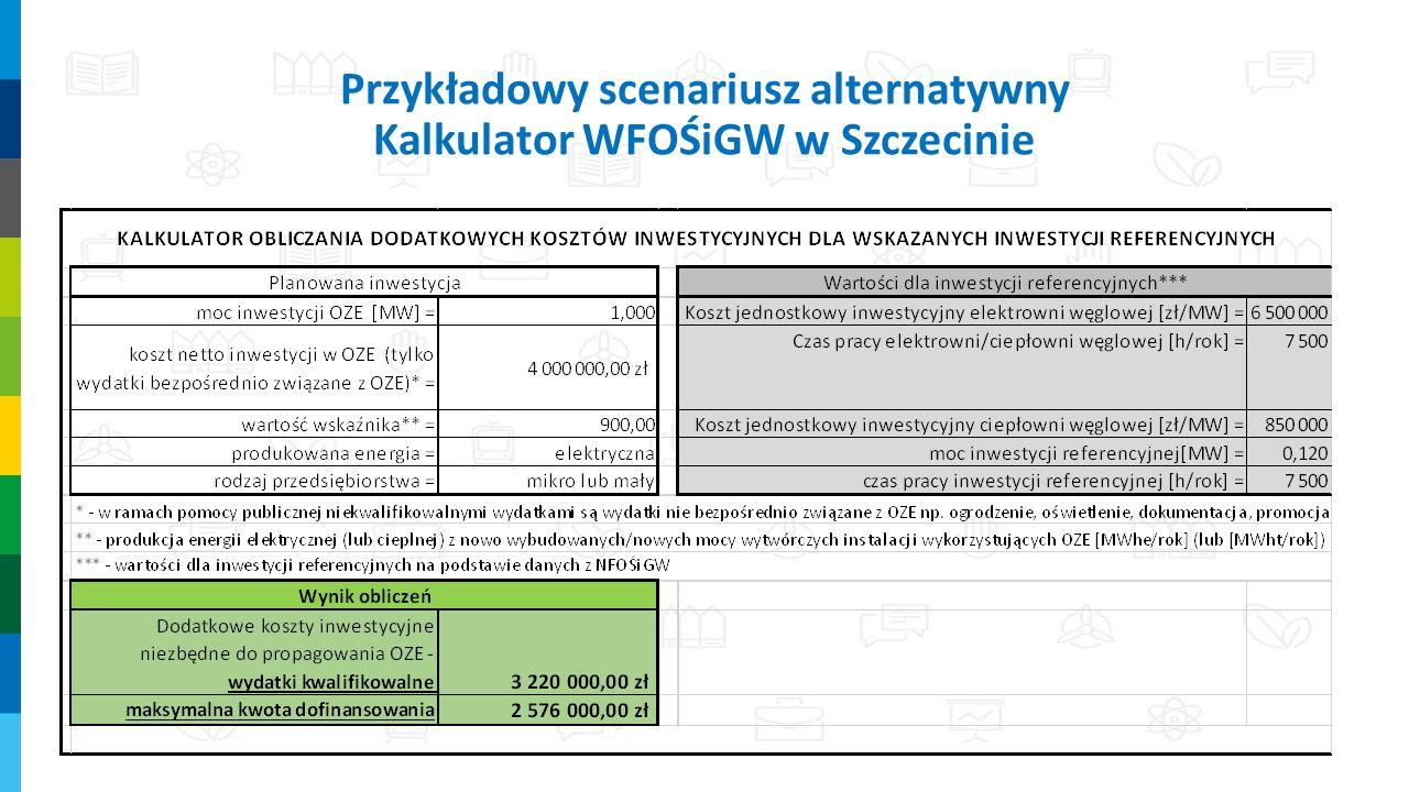 Przykładowy scenariusz alternatywny Kalkulator WFOŚiGW w Szczecinie