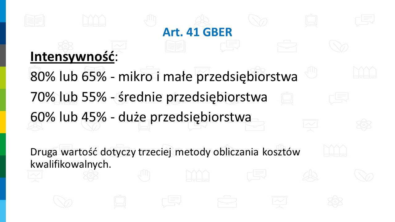 Art. 41 GBER Intensywność: 80% lub 65% - mikro i małe przedsiębiorstwa 70% lub 55% - średnie przedsiębiorstwa 60% lub 45% - duże przedsiębiorstwa Drug