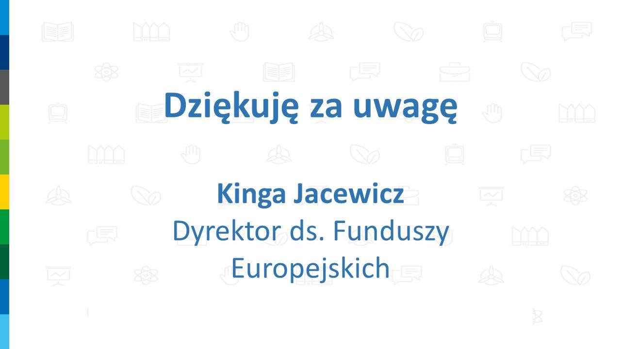 Dziękuję za uwagę Kinga Jacewicz Dyrektor ds. Funduszy Europejskich