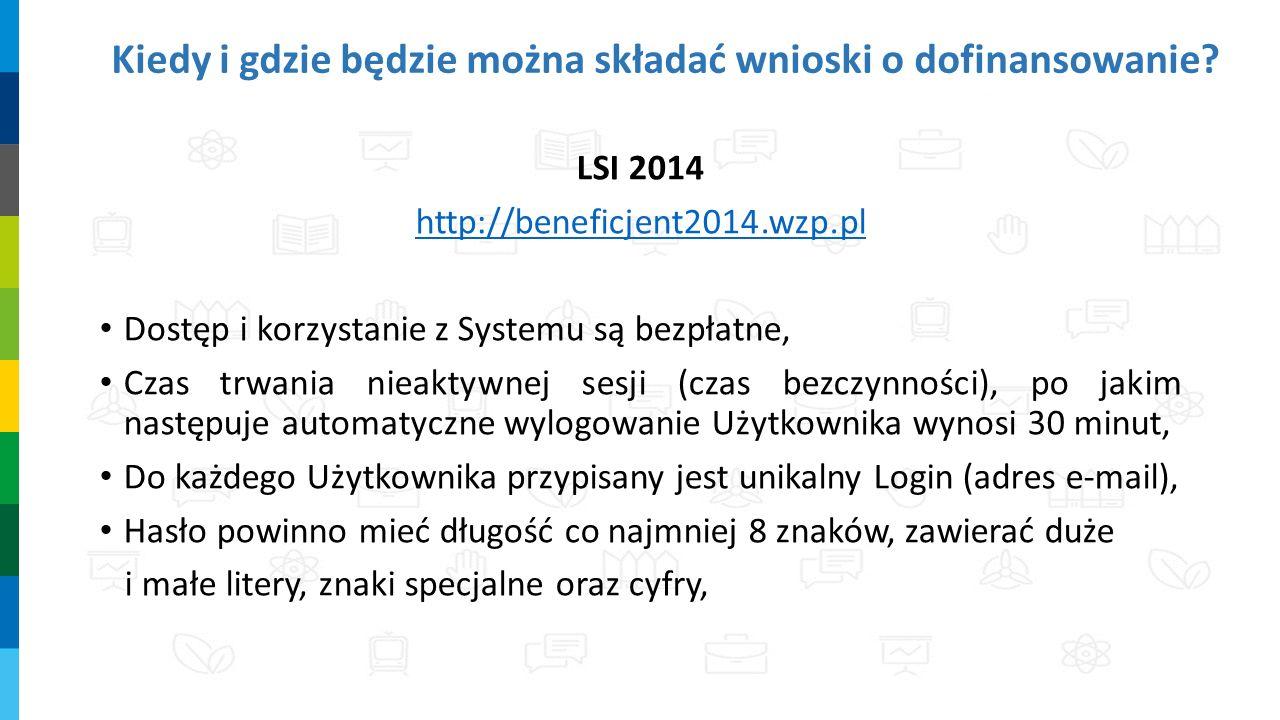 Kiedy i gdzie będzie można składać wnioski o dofinansowanie? LSI 2014 http://beneficjent2014.wzp.pl Dostęp i korzystanie z Systemu są bezpłatne, Czas