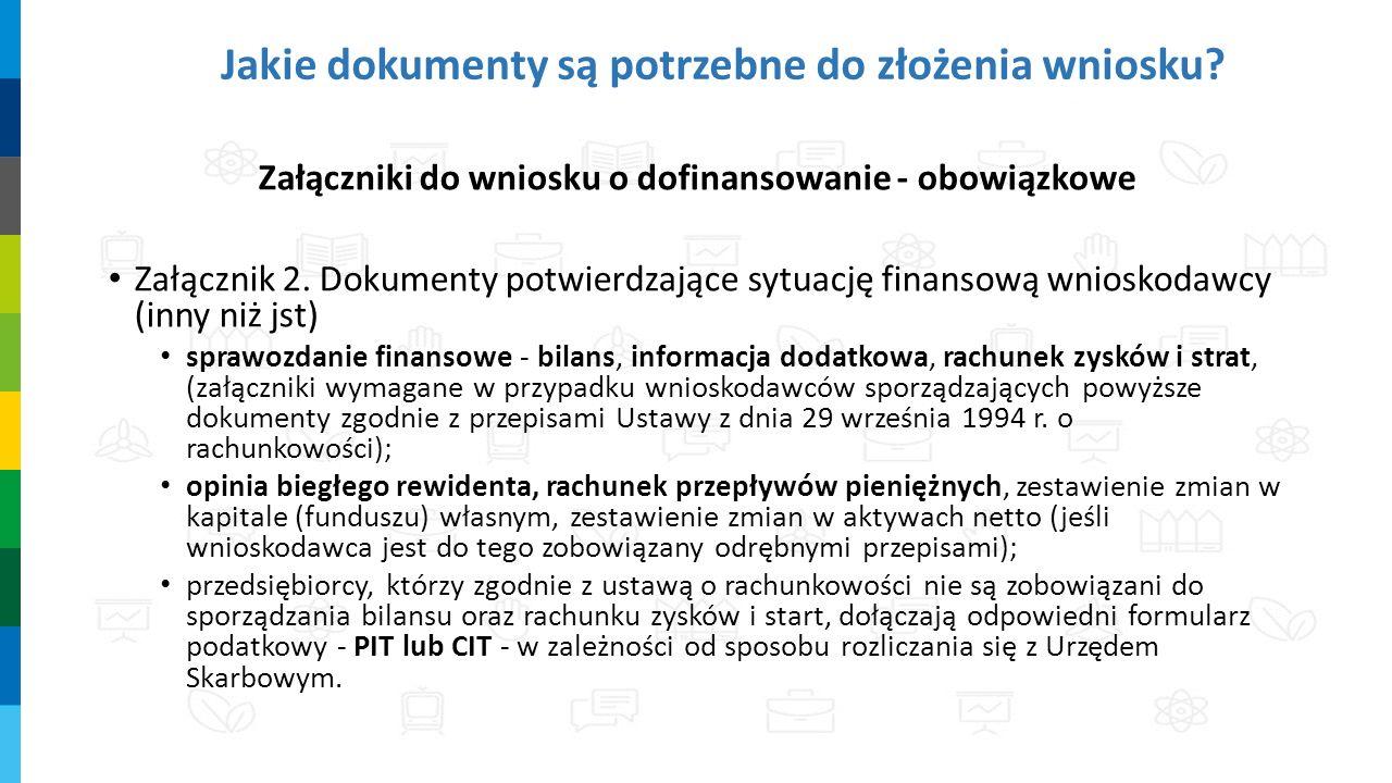 Jakie dokumenty są potrzebne do złożenia wniosku? Załączniki do wniosku o dofinansowanie - obowiązkowe Załącznik 2. Dokumenty potwierdzające sytuację
