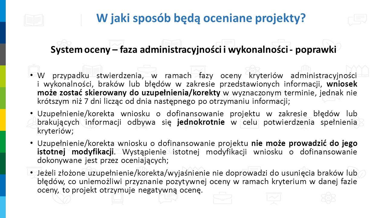 W jaki sposób będą oceniane projekty? System oceny – faza administracyjności i wykonalności - poprawki W przypadku stwierdzenia, w ramach fazy oceny k