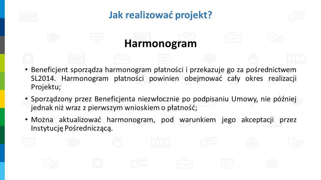 Harmonogram Beneficjent sporządza harmonogram płatności i przekazuje go za pośrednictwem SL2014. Harmonogram płatności powinien obejmować cały okres r