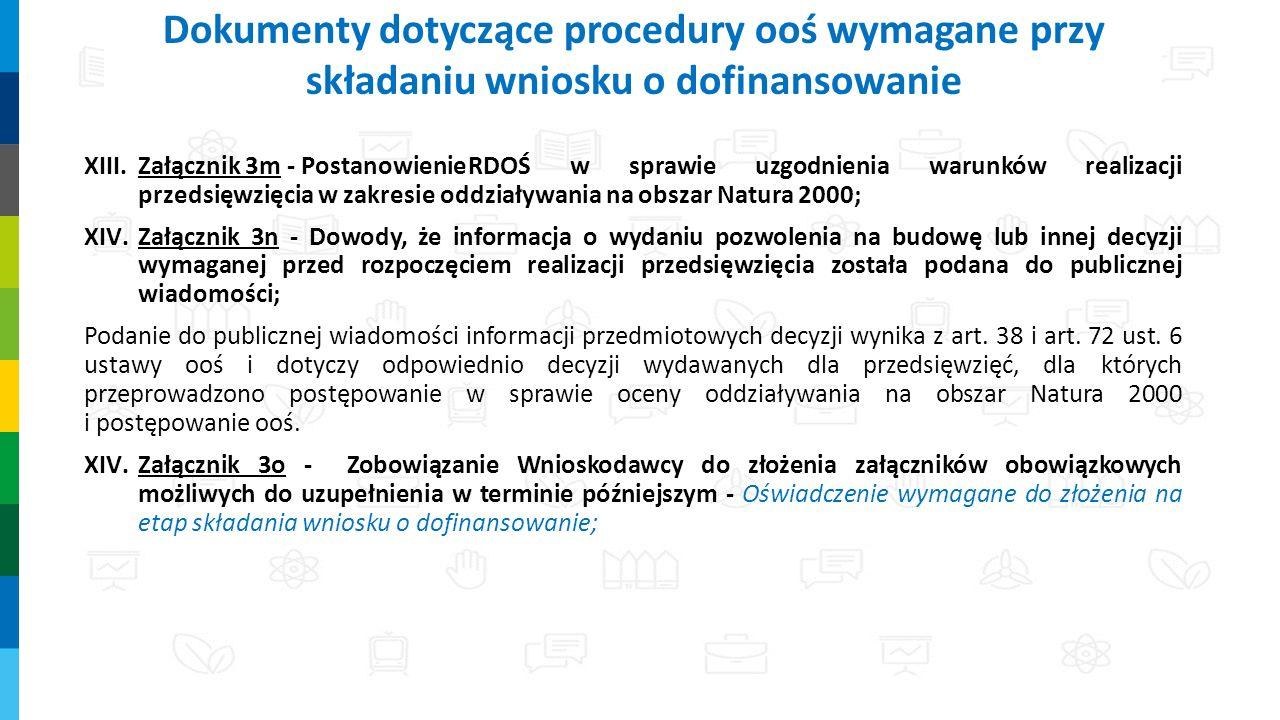 XIII.Załącznik 3m - PostanowienieRDOŚ w sprawie uzgodnienia warunków realizacji przedsięwzięcia w zakresie oddziaływania na obszar Natura 2000; XIV.Załącznik 3n - Dowody, że informacja o wydaniu pozwolenia na budowę lub innej decyzji wymaganej przed rozpoczęciem realizacji przedsięwzięcia została podana do publicznej wiadomości; Podanie do publicznej wiadomości informacji przedmiotowych decyzji wynika z art.