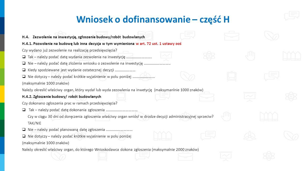 H.4.Zezwolenie na inwestycję, zgłoszenie budowy/robót budowlanych H.4.1.