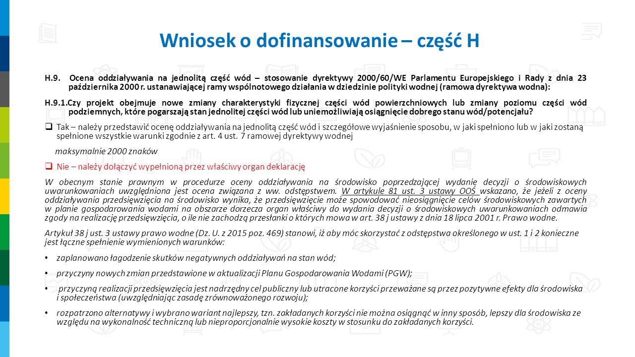 H.9. Ocena oddziaływania na jednolitą część wód – stosowanie dyrektywy 2000/60/WE Parlamentu Europejskiego i Rady z dnia 23 października 2000 r. ustan